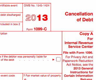 The 1099 C Explained Foreclosure Short Sale Debt Forgiveness