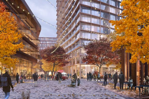 A rendering of the real-estate development on Harvard University-owned land in Boston.